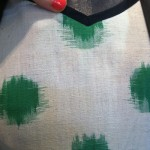 close up of the Hepburn Dress in green dot