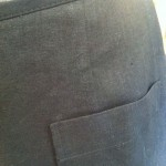 close up of the Garden Skirt Pants and Original Skirt Shorts in black linen