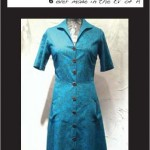 Button Front House Dress (Turq Mini Flower)